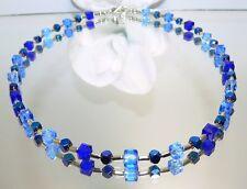 Kette Würfelkette funkelndes Kristallglas Hämatit geschliffen  BLAU Töne  095i