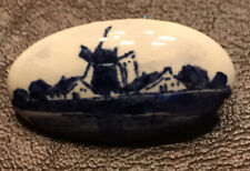 Vintage DELFTS Holland Porcelain Painted Blue & White Windmill Pin Brooch