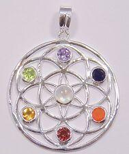 """Chakra Anhänger """"Blume des Lebens"""", mit 7  Edelsteinen, aus 925 Sterlingsilber"""