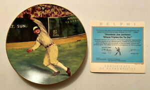*1992 DELPHI Shoeless Joe Jackson Legends of Baseball Plate w/COA