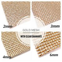 Iron On Diamante Transfers Strips Hot Fix Rhinestone Mesh Crystal Gold Base Trim
