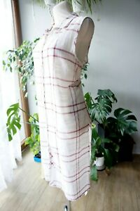 FAT FACE White Red Check Cotton Long Shirt Summer Dress Size 18