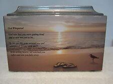 611 Religious poem God whispered Beach scene  adult cremation urn & free plate!