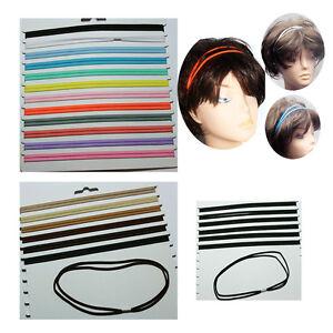 6 x Gummi Haarband doppelt  Haarschmuck stretch Bänder  sport Stirnband *