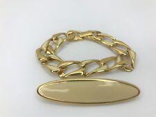 Monet Bracelet Brooch Gold Tone Cream Color Enamel Chain Link Signed Set of 2