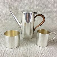 Antique Childrens Tea Set Silver Plated Coffee Jug Miniature Art Deco