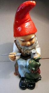 "Gnome Vintage Heissner W Germany Feeding Frog 987 13 1/2"" Plastic Plastik Pixie"