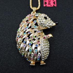 New Betsey Johnson Colorful Crystal Hedgehog Enamel Pendant Sweater Necklace