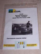 DECALS C.B.COM. 1/43ème RENAULT DAUPHINE 2ème Tour de Corse 1958