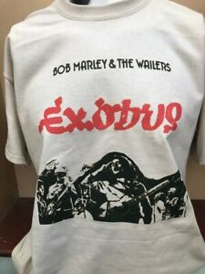 BOB MARLEY & THE WAILERS EXODUS REGGAE MUSIC T SHIRT KHAKI