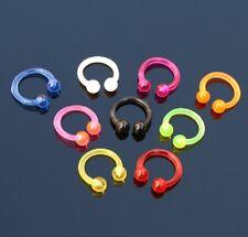 9er Set Piercing UV Hufeisen für Lippe, Ohr, Augenbraue 1,2 x 8 x 3 mm YWHY191