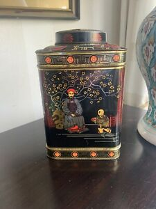 Antique Tea Tin Chinese Design Large Sized Caddy Made In England