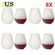 8 Pack Silicone Unbreakable Wine Glass Collapsible Stemless Beer Whiskey Cups