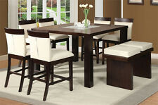 NEW 8PC TORIN II ESPRESSO FINISH WOOD GLASS COUNTER HEIGHT DINING TABLE SET