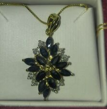 Helzberg Diamonds sapphire necklace pendant 925 sterling silver Italy gold box