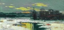 Winter Landscape / Original Oil On Cardboard by Sergej Hahonin / 25 x 12 cm