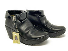 New~FLY London Leather Wedge Ankle Boots~Yoxi~Black~EU 37~US 6-6.5