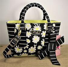 Betsey Johnson LB Belle Daisy Black White Stripe & Yellow Faux Leather Purse