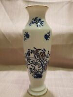 """UCAGCO Blue And Gold Hand Painted Floral Vase, 8"""""""
