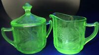 Jeanette Glass Green Uranium Floral Poinsettia Sugar with Lid & Creamer