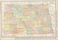 1908 NORTH DAKOTA Railroads Map