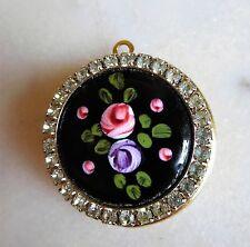 Beautiful Vintage Enameled Roses and Rhinestones Locket Pendant