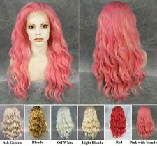 """Front lace long wavy charm pink with golden synthetic cosplay fashion wig,24"""""""