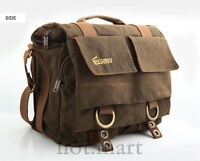 Brown Canvas DSLR Camera Bag Messenger Shoulder Bag For Olympus Nikon Sony Canon