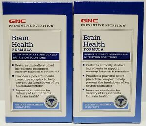 2 GNC Brain Health Formula Dietary Supplement 60 Caplets # 714112