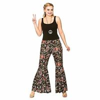Ladies HIPPIE FLARES BELL BOTTOM Pants 60s Adult Flared Trousers Hippy Funky