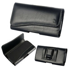 for iPhone 6 & 6S - HORIZONTAL BLACK Leather Pouch Belt Clip Holster Case Cover