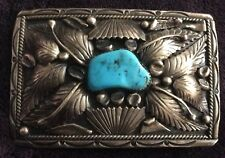 "Vintage Signed Navajo Native American Silver Turquoise Belt Buckle 3"" x 2"""