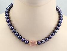 Perlenkette - dunkelgraue Süßwasser-Perlen Halskette mit Rosenquarz 45,5 cm lang