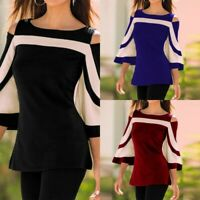 Women Summer 3/4 Sleeve Tops T Shirt Tee Ladies Cold Shoulder Flare Tunic Blouse