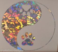 Dog Cat Paw Yin Yang Love Crystal Holographic Vinyl Car Decal Sticker Laptop