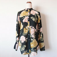 H&M Conscious Green Yellow Pink Sheer Floral Button Up Shirt Blouse Top Size 6