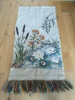 Antique Art Nouveau Embroidered Needlepoint Tapestry Wall Hanging, Panel VGC