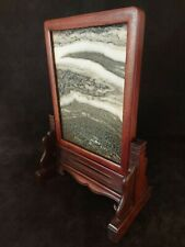 More details for antique chinese dali marble yin pin. huanghuali. signed screen 19th/20th century