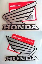 GENUINE Honda Tank & Fairing Sticker Decals x 2 SILVER + BLACK 100mm x 85mm