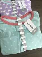 2 New Carter's 1 PC FOOTED FLEECE Pajamas Pj's Jammies Purple Hearts Toddler 5T