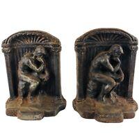Vintage Antique Cast Iron Bookends Auguste Rodin's The Thinker Renaissance Decor