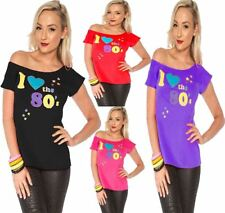 Ladies I Love The 80s T Shirt Retro Fancy Dress Graphic Design TOP