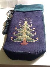 Vintage Needlepoint Christmas Tree Bottle Wrapper Bag  Green Velvet And Navy Blu
