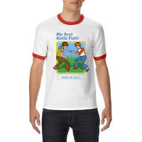 My First Knife Fight Graphic funny Ringer T-shirt Men's Short Sleeve Tee Tops