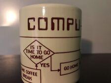 Vtg Retro Compu Mug 1981 Computer Flow Chart Co-Worker Gag-gift Coffee Mug