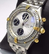 Breitling Chronomat B13048 18k Yellow Gold/ SS Silver Dial Auto MINT NO RESERVE!