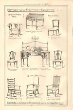 1883 ANTIQUE ARCHITECTURE, DESIGN PRINT- EXAMPLES OF ENGLISH FURNITURE, 3 PRINTS