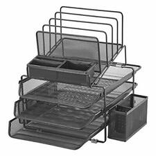 DESIGNA Stackable Mesh Desk Organizer with 3 Sliding Letter Tray Drawers 4 Fi...