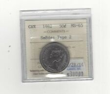 **1982 SmBds;Type#2** ICCS Graded, Canadian, 50 Cent, **MS-65**