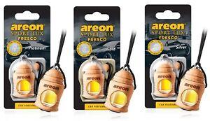 3 x Areon Fresco Sport Lux Gold Silver Platinum Car Perfume Tree Air Freshener